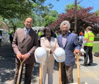 Attorney Travis Smith on the left and Peoples Counsel Sandra Mattavous-Frye and Rate Case Mgr. Naunihal Gumer at the groundbreaking ceremony in Northwest - June 14th